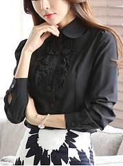 Plain Ruffle Trim Chiffon Blouse