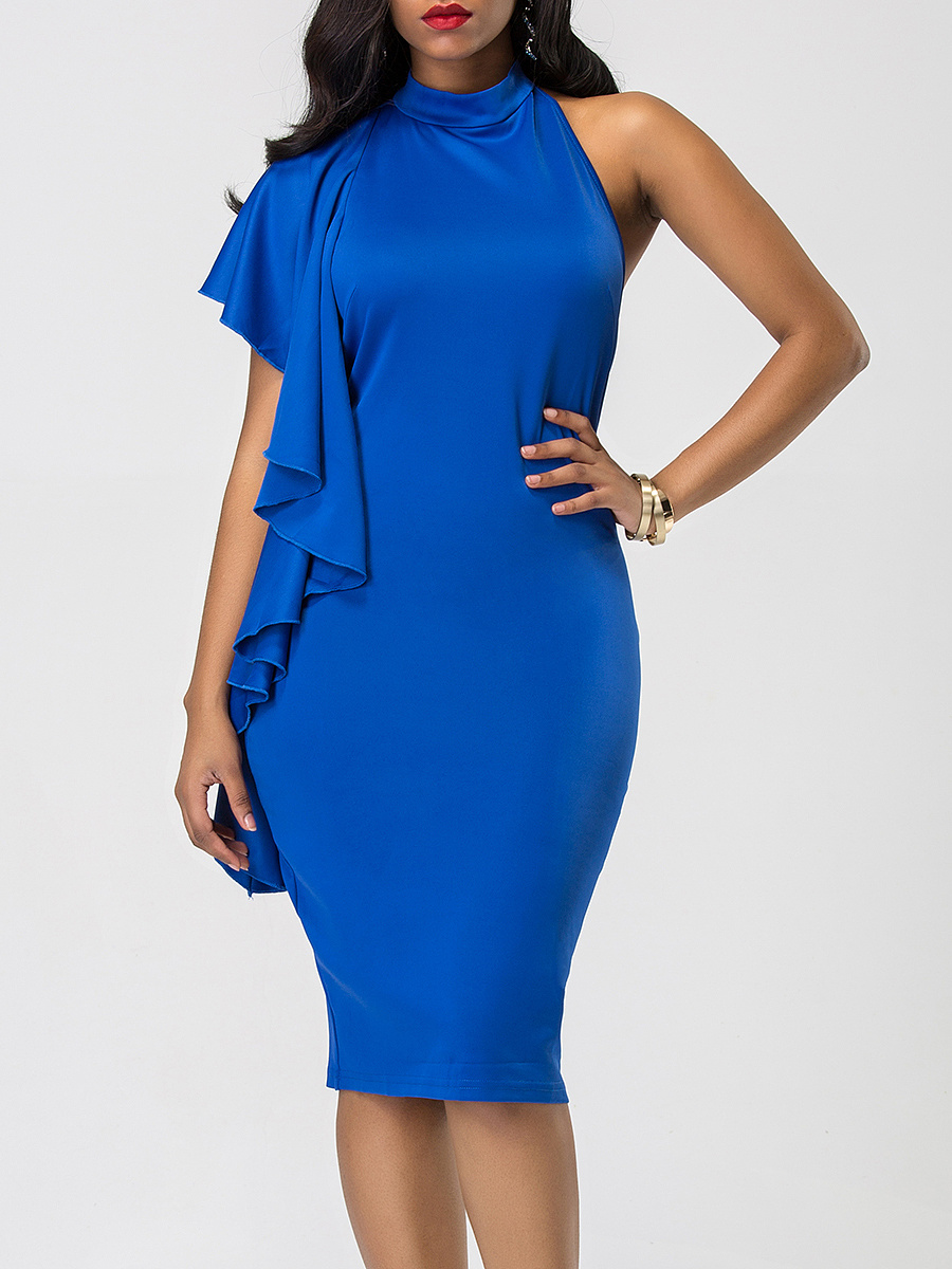 One Shoulder Cascading Ruffles Backless Plain Bodycon Dress