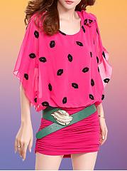 Round-Neck-Belt-Lip-Printed-Bodycon-Dress