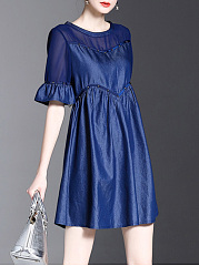 Round Neck Bell Sleeve Hollow Out Plain Skater Dress