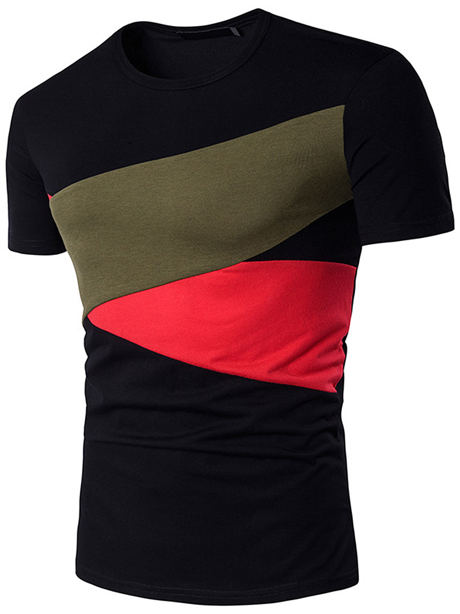 Round Neck Men Color Block T-Shirt