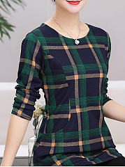 Autumn Winter  Polyester  Women  Round Neck  Plaid Long Sleeve T-Shirts