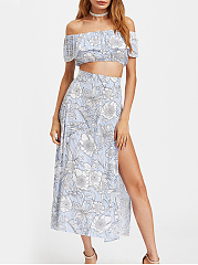 Off-Shoulder-Flounce-Floral-Pinstripe-Crop-Top-And-High-Slit-Skirt