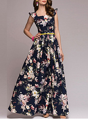 Boat Neck  Floral Printed Maxi Dress