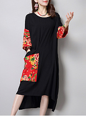Patch Pocket Patchwork  Printed Extraordinary Shift Dress