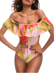 2018 New Style Off-Shoulder Printed One Piece