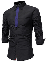 Long Sleeve Color Block Men Shirts