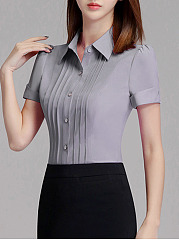 Turn Down Collar Plain Pleated Blouse