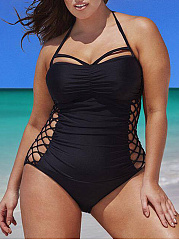 Tie Collar  Lace-Up  Plain Plus Size One Piece