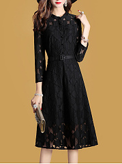 Band Collar  Belt  Hollow Out Plain  Lace Maxi Dresses