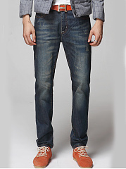 Patch Pocket  Ripped  Light Wash  Straight Men's Jeans