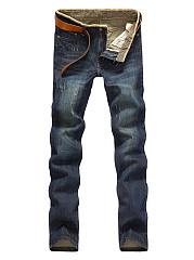 Patch Pocket  Ripped  Light Wash  Straight Mens Jeans