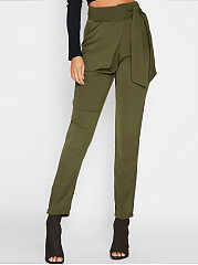 Plain-Tie-Side-Slim-Leg-Casual-Pants