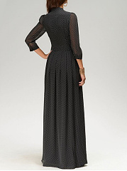 Band Collar  Polka Dot Maxi Dress