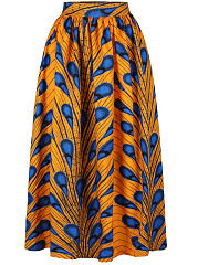 Attractive-Printed-Elastic-Waist-Flared-Maxi-Skirt