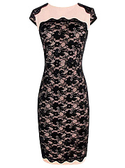 Round Neck Decorative Lace Bodycon Dress