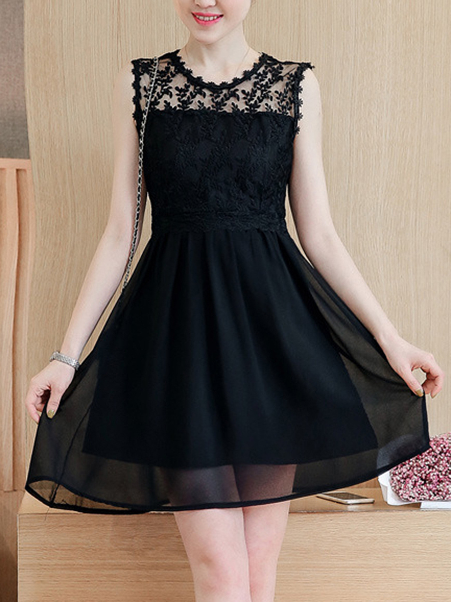 Black See-Through Chiffon Mini Skater Dress