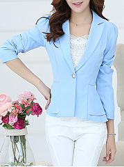 Notch Lapel Single Button Elegant Plain Blazer