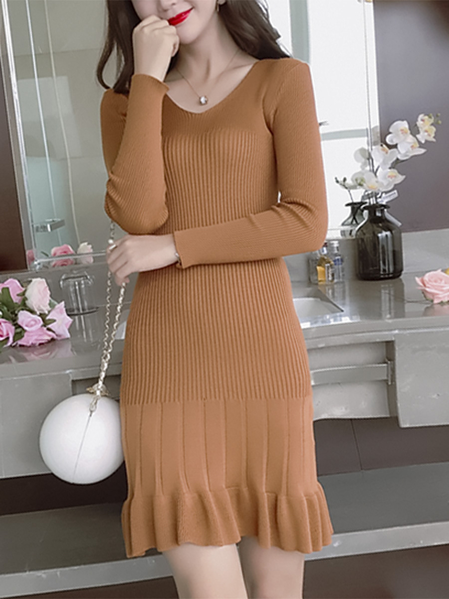 V-Neck  Plain  Knit Knitted Dress