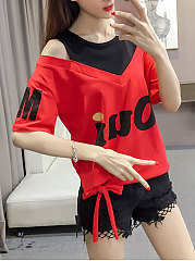 Summer  Polyester  Women  Open Shoulder  Drawstring Patchwork  Letters Short Sleeve T-Shirts