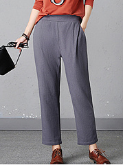 Plain-Elastic-Waist-Pegged-Casual-Pants