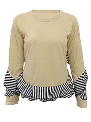 Round Neck Flounce Striped Sweatshirts