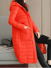 Hooded  Flap Pocket  Plain Coat