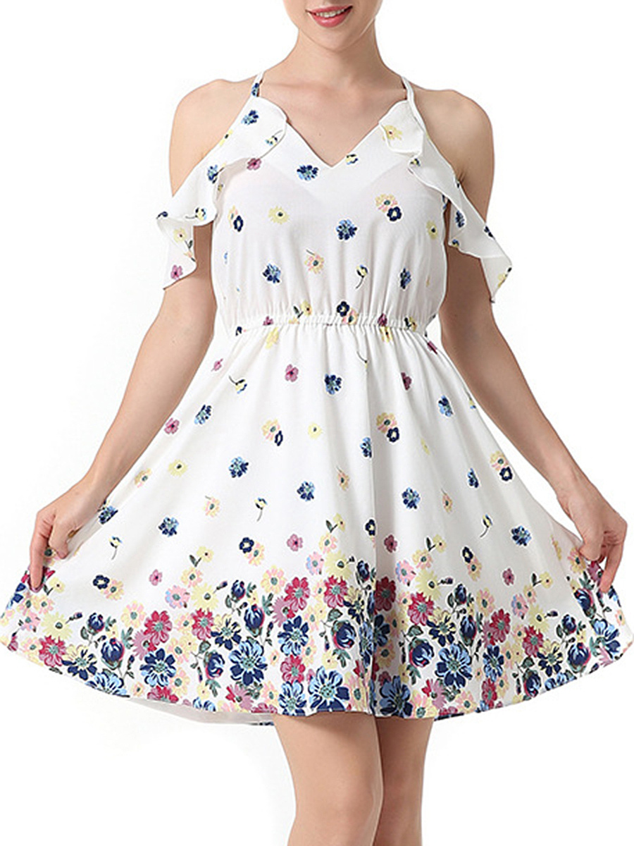 Open Shoulder Flounce Floral Printed Skater Dress