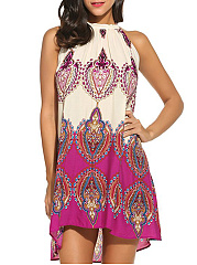 Halter  Printed Skater Dress