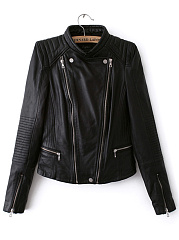 Band Collar PU Leather Zips Quilted Plain Biker Jacket