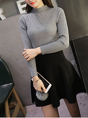 Band Collar  Plain Pullover