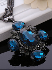 Blue Imitated Crystal Cross Shape Necklace