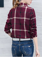Autumn Spring  Cotton  Women  Turn Down Collar  Single Breasted  Plaid  Long Sleeve Blouses