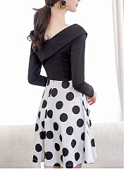V-Neck  Polka Dot Skater Dress
