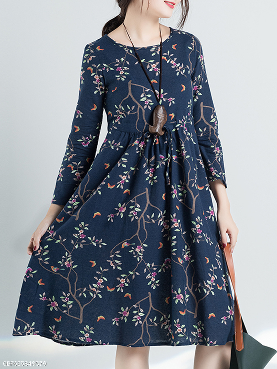 Round Neck Fashion Printed Midi Shift Dress