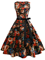 Vintage-Round-Neck-Belt-Floral-Printed-Skater-Dress
