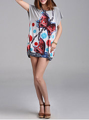 Spring Summer  Polyester  Women  Round Neck  Floral Printed  Batwing Sleeve Short Sleeve T-Shirts