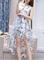 Round-Neck-Asymmetric-Hem-Printed-Polyester-Skater-Dress