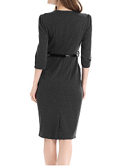 Slit  Decorative Button  Plain  Office Bodycon Dress