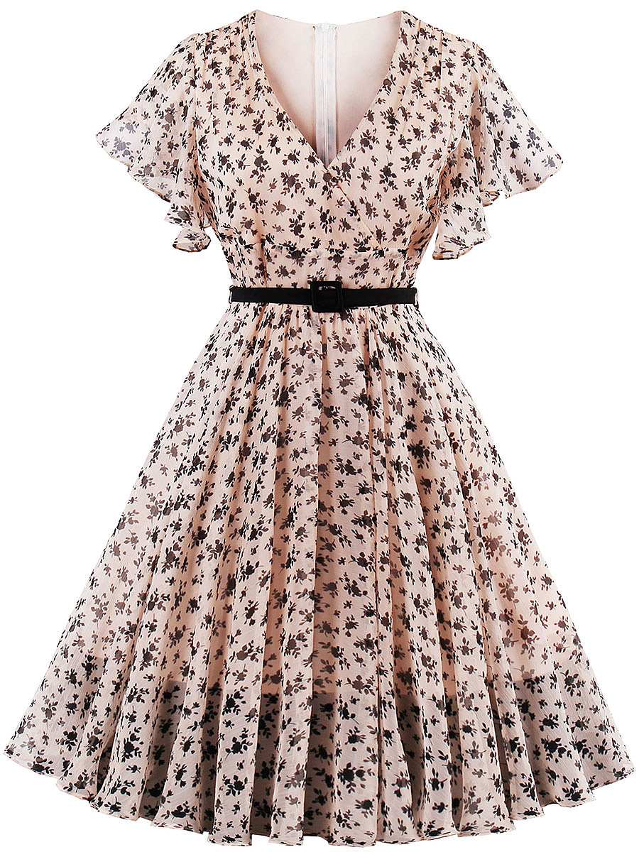 Surplice Flounce Ruffled Hem Belt Printed Polyester Skater Dress