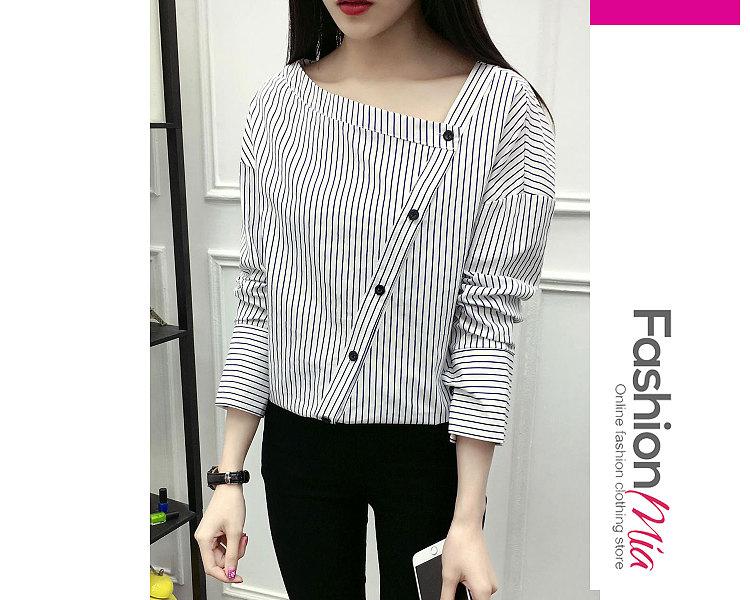 Autumn Spring  Cotton  Women  Asymmetric Neck  Single Breasted  Striped  Long Sleeve Blouses