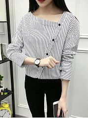 Autumn Spring  Cotton  Women  Asymmetric Neck  Single Breasted  Striped  Long Sleeve Blouses