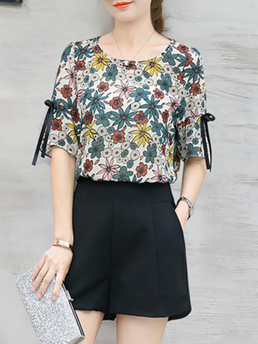 Summer  Polyester  Women  Round Neck  Printed  Tie Sleeve  Half Sleeve Blouses