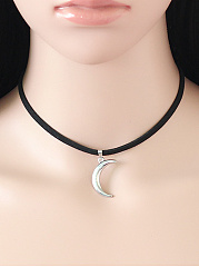 New Moon Pendant Velvet Choker Necklace