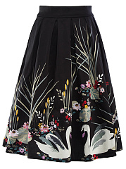 Inverted-Pleat-Printed-Flared-Midi-Skirt