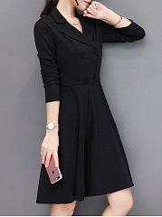 Lapel Double Breasted Plain Skater Dress