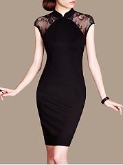 Band-Collar-See-Through-Plain-Bodycon-Dress