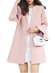 Collarless  Beading  Plain  Bell Sleeve  Three-Quarter Sleeve Coats