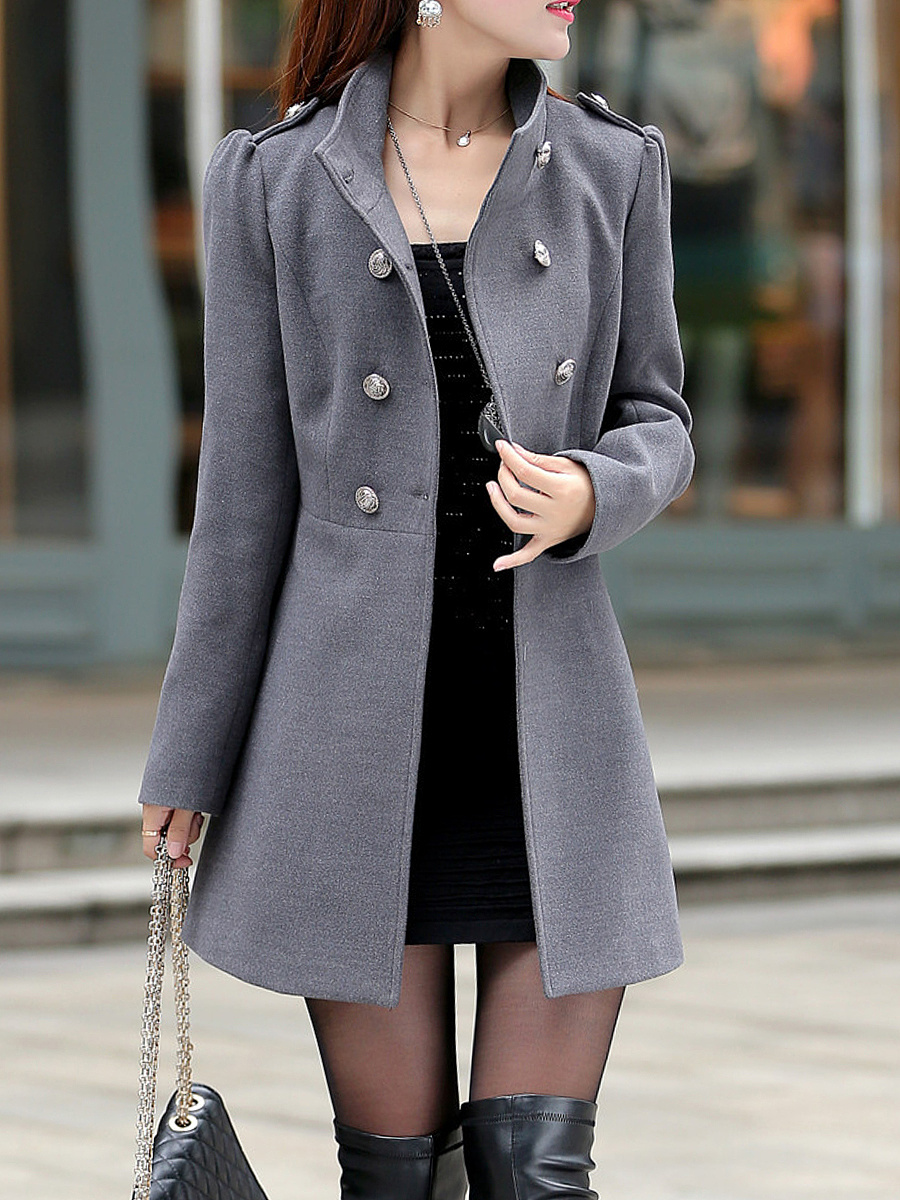 High Neck Woolen Double Breasted Plain Coat