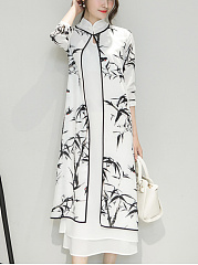 Band-Collar-Bamboo-Printed-Side-Slit-Two-Piece-Maxi-Dress